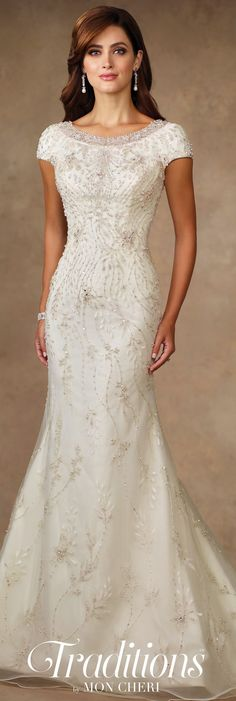 Traditions by Mon Cheri Spring 2017 Wedding Gown Collection - Style No. TR11706 - beaded trumpet wedding dress with cap sleeves