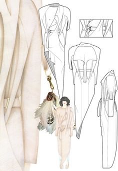 Fashion portfolio with designs and flat drawings