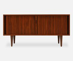 Milo Baughman Low Profile Tambour Door Credenza for Glenn of California