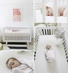 Adorable baby Zoe in her nursery with Hudson crib, C black and white striped rug, chevron bedding