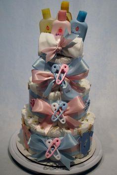 Gender Revealing Diaper Cake Cute Baby Shower Ideas, Baby Shower Items, Baby Shower Diapers, Baby Shower Cakes, Baby Shower Gifts, Baby Gifts, Twin Diaper Cake, Nappy Cakes, Baby Shower Gender Reveal