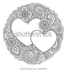 Round Decorative Frame Floral Pattern Forn Stock Vector (Royalty Free) 1454232902 - Round decorative frame with floral pattern in forn of heart in mehndi style. Heart Coloring Pages, Pattern Coloring Pages, Free Adult Coloring Pages, Coloring Books, Colouring, Estilo Mehndi, Frame Floral, Mehndi Style, Art Drawings Sketches Simple