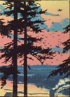 ✨ Elizabeth Aline Colburne, American (1885-1948) - Sunset over the Bay, Bellingham, 1930, Colour Woodcut