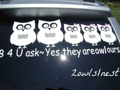 Owl Family Stick Figure Vinyl Car Decal Sticker By - Owl family custom vinyl decals for car
