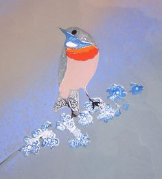 Vintage Enamel Bird Art, Signed Copper Plaque