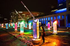 Two new digital, interactive public art installations—Prismatica by Toronto's Raw Design and Fascinoscope by Montreal's Lüz Studio—will be part of the fifth annual Luminothérapie festival in Montreal's Quartier des Spectacles until February Installation Interactive, Light Art Installation, Street Installation, Lighting Sculpture, Interactive Board, Art Installations, Interactive Design, Montreal Ville, Of Montreal
