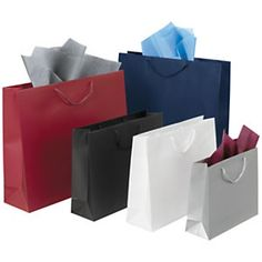 Laminated paper gift bags with a matt finish