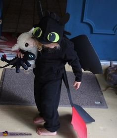Darcy: This started out as a hooded sweatshirt. I cut out foam pieces to make the eyes, ears, tail, wings and horns. The foam eyes, ears and horns were glued to...