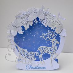 a card created using tattered lace dies after seeing Nancy Watt demonstrating on TV Homemade Christmas Cards, Christmas Cards To Make, Christmas Tag, Xmas Cards, All Things Christmas, Handmade Christmas, Homemade Cards, Holiday Cards, Tattered Lace Cards