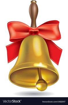 Golden school bell with red bow vector image on Christmas Clipart, Christmas Bells, Bow Vector, Vector Free, Wedding Bells Clip Art, Pumpkin Vector, School Murals, Birthday Clipart, School Clipart