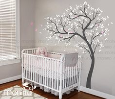 Albero naturale, decalcomania albero bianco, adesivi murali uccelli, vivaio decalcomania, Decalcomanie da muro grande, camera dei bambini, parete Art Decor, Wall Sticker murale [MT030]