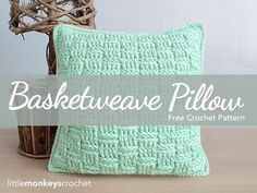 Basketweave Throw Pillow Crochet Pattern  |  free crochet pattern by Little Monkeys Crochet