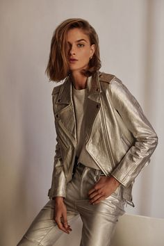 this just in: punk rock meets glam rock Metallic Jacket, Glam Rock, Winter Collection, Punk Rock, Biker, Leather Jacket, Jackets, Outfits, Shopping