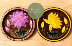 31 Creative Wooden Home Furniture - Room Dekor 2021 Ceramic Painting, Painting On Wood, Pichwai Paintings, Lotus Painting, Lotus Art, Indian Folk Art, Acrylic Wall Art, Traditional Paintings, Plates On Wall