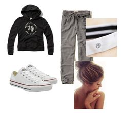 """""""Lazy"""" by dara-fitzgerald ❤ liked on Polyvore featuring Hollister Co., Abercrombie & Fitch, Converse and lululemon"""
