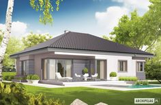 Projekt domu Eris II (wersja C) energo One Storey House, 2 Storey House Design, Modern Bungalow House, Bungalow House Plans, Village House Design, Village Houses, Minimal House Design, House Construction Plan, Three Bedroom House Plan