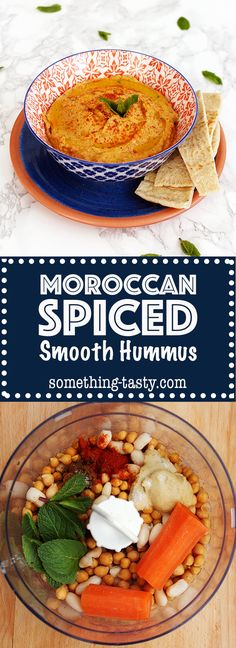 Moroccan Spiced Hummus - Packed full of aromatic and vibrant flavours that never gets boring! From Something Tasty