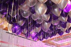 Purple & Silver Balloons over Dance Floor