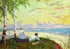 Boris Mikhailovich Kustodiev (1878-1927), Regardant la Volga - 1922 Graphic Artist, Russian Painting, Art Studies, Painting, Oil Painting, Art, Meet The Artist, Art History, Art World