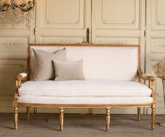 Vintage Shabby French Louis Xvi Style Settee Gilt Serpentine Antique Furniture Sofa