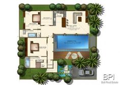 Three Bedroom Villa Plan - but maybe only two bedrooms