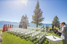 Under beautiful blue skies on the sides of the beautiful blue lake.  Perfect Lake Tahoe wedding venue!  <3 <3 #laketahoeweddings #outdoorweddings #laketahoeweddingvenues