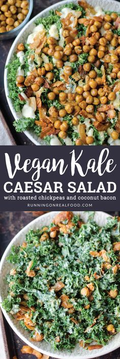 The vegan kale caesar salad with roasted chickpeas and coconut bacon is healthy, gluten-free and tastes incredible. So many textures and flavours! Easy to make with simple ingredients. Dressing is tofu based, nut-free and oil-free. Ceasar Salat, Healthy Caesar Salad, Tofu Salad, Kale Salad, Healthy Salads, Healthy Hair, Kale Recipes, Recipes, Eating Clean