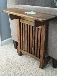 We had limited space for a full end table at the end of our sofa due to a doorway. I created a drop leaf table that can be flipped up for drinks or plates as needed and flipped down when not in use…MoreMore #WoodworkingTips #WoodworkingProjects #WoodworkingforBeginners #WoodworkingDIY