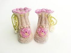 Hand Knit Baby Girl Booties,   Crochet Heart Appliqué Booties, Flower Booties, Pink Green Booties, Unique Baby Booties, Newborn Size by heaventoseven on Etsy