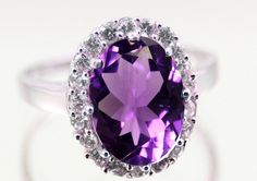 7.00CT Oval Cut Purple Amethyst CZ Round Russian Diamond CZ Halo Wedding Engagement Anniversary Ring Solid 925 Sterling Silver Cocktail Ring
