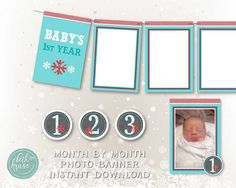 Photo Banner Winter ONEderland Collection Instant Download by Beth Kruse Custom Creations