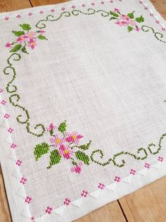 floral cross stitch embroidered tablecloth in linen from Sweden Lovely floral cross stitch embroidered tablecloth in linen Cross Stitch Bookmarks, Cross Stitch Borders, Cross Stitch Rose, Cross Stitch Flowers, Cross Stitch Designs, Cross Stitch Embroidery, Embroidery Patterns, Hand Embroidery, Cross Stitch Patterns