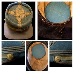 The cap shown here is the rarest of all Confederate headgear.  It is that of a Confederate General Officer, be he Brigadier, Major, or Lieutenant General.  There is no distinction in the regulations between the different grades.  The Confederate regulations simply directed that the General's cap have four rows of gold braid adorning the dark blue body and top of a French style kepi.  The surfaces of this cap that have been exposed to light for these 150 years remain distinctly blue, but are…