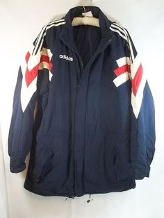 Adidas Coat Jacket Winter Vintage Mens L Blue White Red Stripes Hide  Away Hood #adidas #BasicCoat