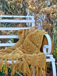 Hand crocheted bobble throw in Mustard - Hand knitted throws Accessories & Gift ideas Mabon, Hand Crochet, Hand Knitting, Yellow Cottage, Autumn Cozy, Late Autumn, Autumn Morning, Knitted Throws, Autumn Garden