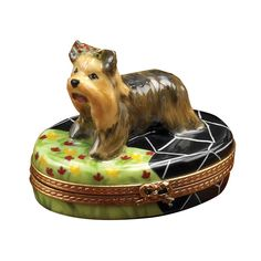 Yorkshire Terrier on Terrace Limoges Box | Limoges Boxes | Handpainted Porcelain | Collectables | ScullyandScully.com