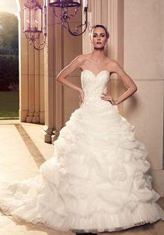 Ball Gown Sweetheart Organza Natural Waist Floor Length Elegant Wedding Dresses - Lunadress.co.uk