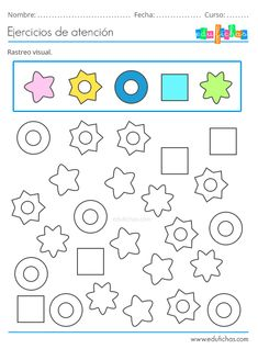 Fichas de Atención para Niños. Estimulación Cognitiva. Descargar PDF. Kindergarten Math Worksheets, Preschool Learning Activities, Worksheets For Kids, Educational Activities, Activities For Kids, Spanish Lessons For Kids, Busy Book, Kids Education, Journal Cards
