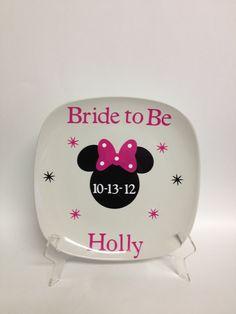 Minnie mouse disney wedding signature plate