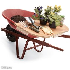 Portable Potting - Cut a piece of plywood roughly to the shape of your wheelbarrow'sback end and screw a few wood cleats along the sides tokeep it from slipping off while you wheel. Now you'll have bothsoil and a potting surface right at hand when you take thewheelbarrow to the garden.