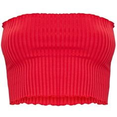 Red Rib Frill Hem Bandeau Crop Top ($5.62) ❤ liked on Polyvore featuring tops, ribbed crop top, bandeau top, cut-out crop tops, ribbed top and red top