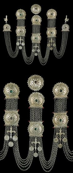 Greece | Composite bridal breast / chest ornament with silver clasps, chains and pendant crosses. | From Aidipsos in Euboea, | 19th century