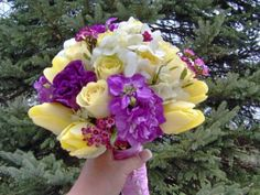 Yellow and Purple Flowers bridal bouquet design by Julie Floyd of Creative Gardens, Lee, NH www.creativegardensnh.com