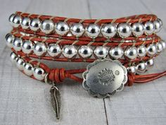Silver Wrap Bracelet For Women or Men- Gemstone and  Leather Wrap Bracelet - Southwestern Bracelet - Gift for Her or Him