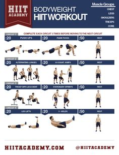 Only bodyweight is required for total body HIIT workout and it can be done right in your living room in less than 20 minutes!