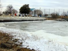 #ODU Sailing Center becomes an ice rink as the Elizabeth River hardens.