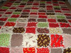 T's sock monkey quilt for his sock monkey themed room.  Reds, browns, blacks and lime greens.