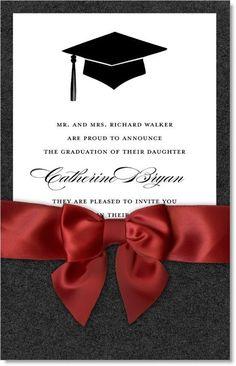 Tip of the Hat Black & Dark Red Pocket Graduation Invitations by IB Designs - Invitation Box Graduation Cap And Gown, 8th Grade Graduation, Graduation Cap Designs, Graduation Party Decor, Graduation Photos, Graduation Announcements, Graduation Invitations, Invitation Design, Invitation Cards