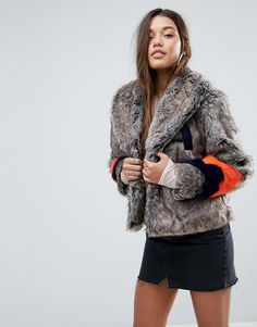 dc3ed23130490 ASOS Faux Fur Jacket with Varsity Stripes - Multi Coats For Women