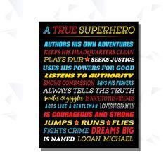 A True Superhero Personalized Boys Superhero by CottageArtShoppe